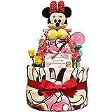 出産祝いに大人気! ディズニー ミニーのおむつケーキ/赤ちゃんの内祝い・誕生日プレゼント ギフトセット ダイパーケーキ/女の子 (パンパースM18 (1歳のお誕生日プレゼント用に))