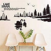 Dtcrzj クリエイティブ白鳥湖風景静かな湖アート女の子男の子子供部屋リビングルームの装飾Pvc防水ウォールステッカーDiy壁画デカール