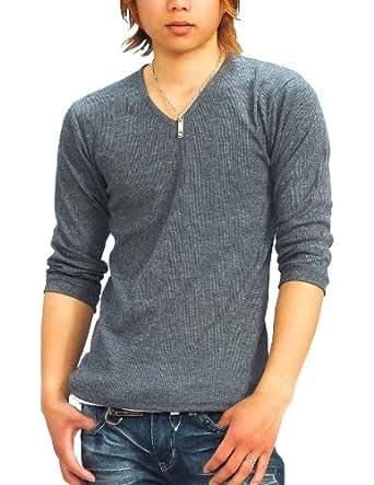 (スペイド) SPADE Tシャツ メンズ 無地 七分袖 カットソー Vネック プレーン【q424】 (M, グレー)