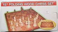 """15""""木製チェスセットwith Fold Carry Board"""