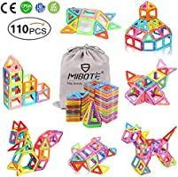 MIBOTE 110 PCS Magnetic Building Blocks Educational Toys Magnet Tiles Set Stacking Blocks for Toddler Kids
