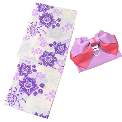 着物ひととき 浴衣 レディース セット 作り帯 2点セット 浴衣 つくり帯 セット 女性 ゆかた ゆかた帯 5紫鉄線
