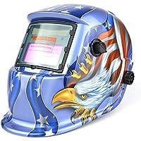 自動遮光液晶溶接面 自動感光式溶接マスク 自動フィルター  ワイドビュータイプ 遮光速度.00003秒 ソーラー充電式溶接マスク/ 溶接ヘルメット 遮光度#9~#13可変 ブルー
