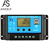 Anself 10A 12V/24V LCDソーラー充電コントローラ 電流ディスプレイ ラソーラーパネル 自動調整スイッチ 過負荷保護