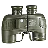 QUNSE® 軍用航海コンパス双眼鏡 - 高倍率望遠鏡ーコンパス距離測定 - 10x50 大きな対物レンズ大視野 - BAK4プリズムシステムー防水防霧- 双肩式スリングを配置し