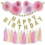 パーティーパーク HAPPY BIRTHDAY 誕生日 飾り付け 装飾 豪華セット デコレーション 英文字ガーランド 星 タッセル ペーパーファン 選べるカラー(ピンク?ブルー) (ピンク)