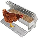 Voilamart 4.7KG Auto Chicken Feeder Auto Treadle Self-Opening Rustproof Aluminium Feed Chook Poultry