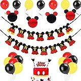 ミッキー誕生日 パーティー飾り付け ディズニー ミニー ハニカムボール ケーキトッパー バナー バルーン 男の子 可愛い イエロー レッド ブラック
