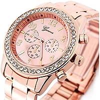 FenBuGu-JP ジュエリージュネーブローズゴールドメッキクラシックラウンドCZレディース女性用腕時計