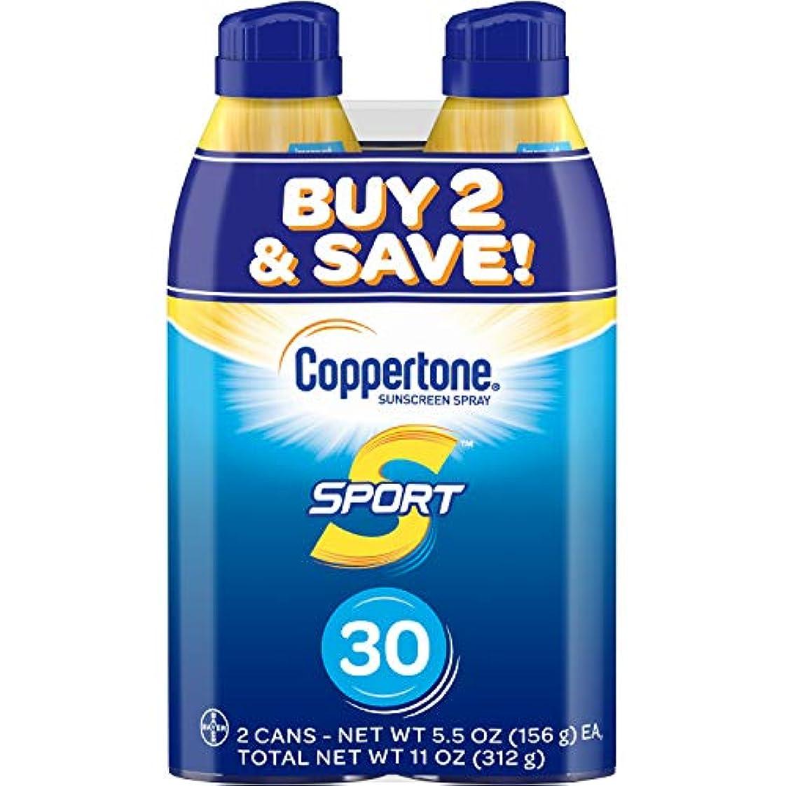 に慣れウサギ掻くCoppertone スポーツ連写日焼け止め広域スペクトルSPFスプレー30(5.5オンスボトル、ツインパック)