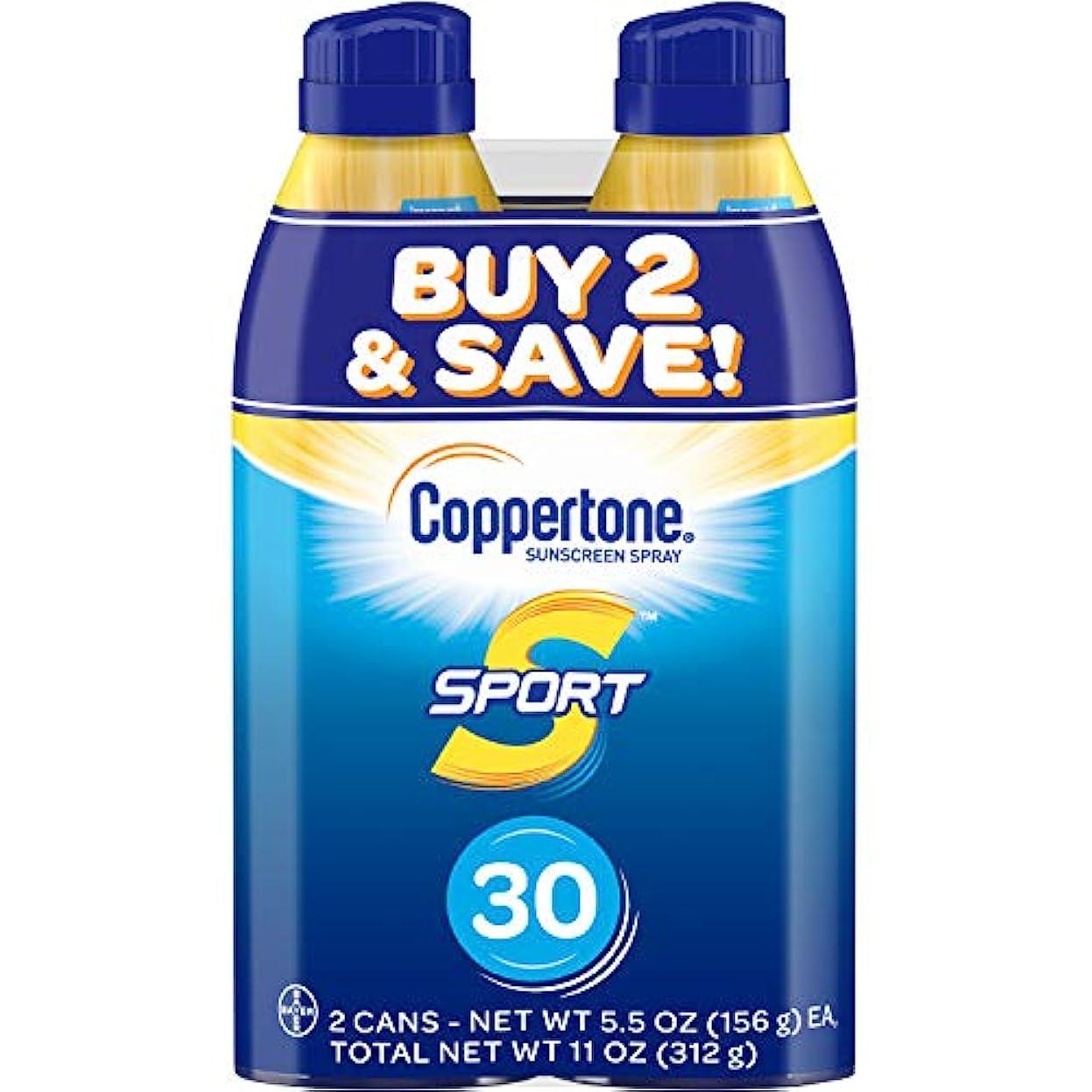 憂鬱な負荷負荷Coppertone スポーツ連写日焼け止め広域スペクトルSPFスプレー30(5.5オンスボトル、ツインパック)