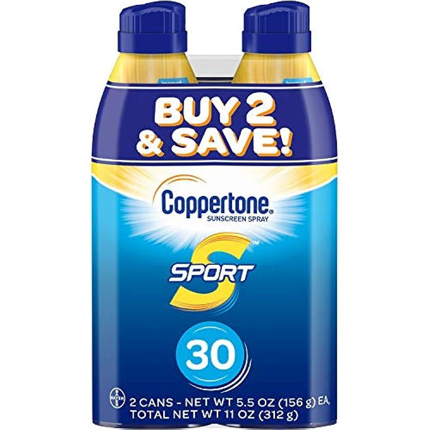 従順な協同ゆるいCoppertone スポーツ連写日焼け止め広域スペクトルSPFスプレー30(5.5オンスボトル、ツインパック)