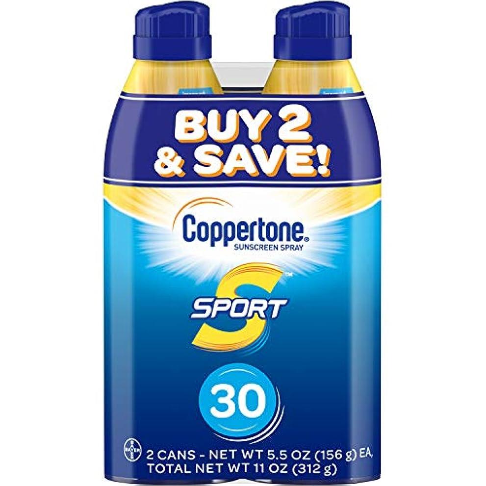 囲む語アフリカ人Coppertone スポーツ連写日焼け止め広域スペクトルSPFスプレー30(5.5オンスボトル、ツインパック)