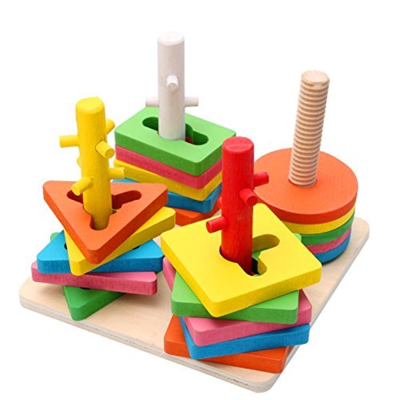 HuaQingPiJu-JP 創造的な木製の色と形の幾何学的なソートボードスタックとソートパズルのおもちゃ