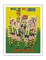 1966年ワールドカップロンドン、イングランド - エア?インディア - マハラジャ サッカー選手 - ビンテージな航空会社のポスター - アートポスター - 51cm x 66cm