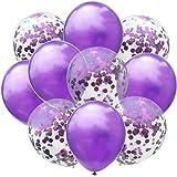 Taofang 12インチローズゴールドバルーンシリーズバルーンパーティー紙の紙吹雪ドットパーティーの誕生日の装飾 バルーン (Color : PurpleAndGold, Size : ワンサイズ)