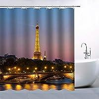 パリの夜景エッフェル塔浴室の窓の装飾のための生地のホックが付いているポリエステル防水シャワー・カーテン60X72in