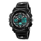 BesWlzボーイズビューマルチファンクションデュアルタイムデジタル時計スポーツスポーツ防水キッズウォッチ (ブラック)