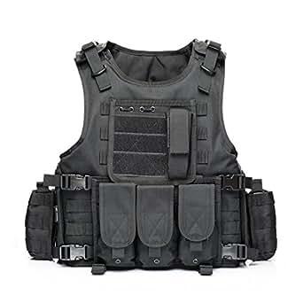YAKEDA® 戦術SWAT CSベスト 陸軍ファンベストCsゲームベスト、カウンターストライクゲームのCSフィールドベスト コスプレベスト-322 (ブラック) [並行輸入品]