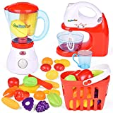 FunLittleToy Kids Play Kitchen, Pretend Play Set with Mixer, Blender, Play Foods and Accessories