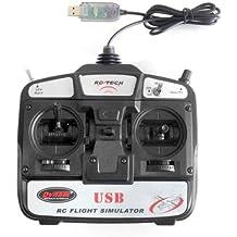 プロポ型コントローラー付属6Chフライトシミュレーター ヘリ・飛行機を本格に3Dで操縦体験! 3Dフライト USB接続 FMS&HELI-X対応