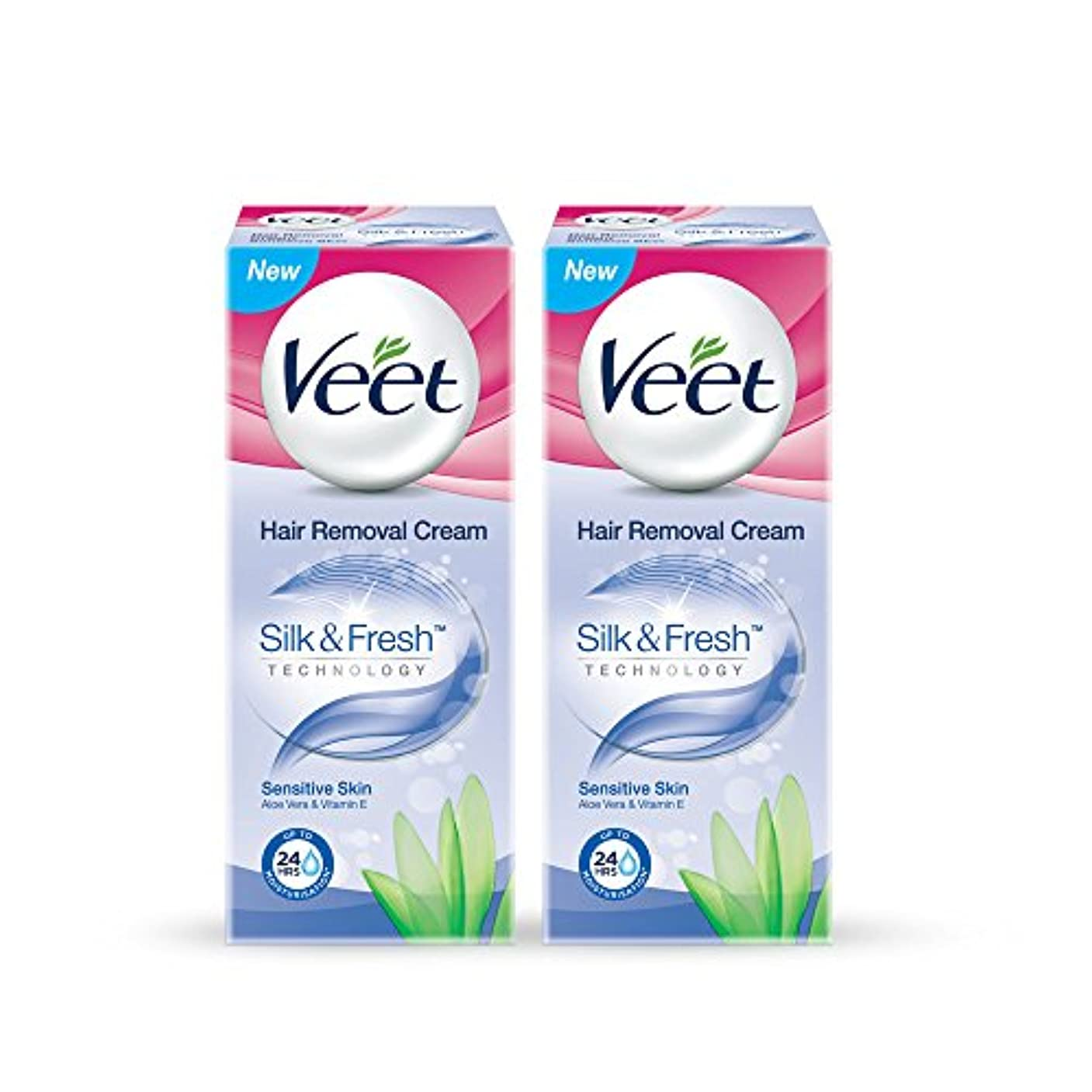 錫小間予防接種するVeet Hair Removal Gel Cream For Sensitive Skin With Aloe Vera and Vitamin E 25 g (Pack of 2)