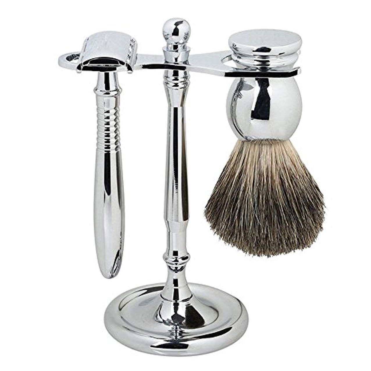 バレエ指定油SMAGREHO シェービングセット メタル 両刃剃刀 高級感満々 アナグマの柔らかい毛 替刃5枚付