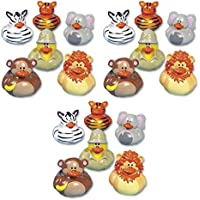 Lot Of 18 Wild Safari Ducks - Zoo Rubber Duckies - Jungle Animals - Assorted [並行輸入品]