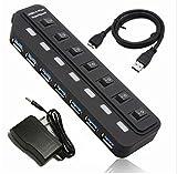 QZT USBハブ USB3.0対応 7ポート 個別スイッチ LEDライト付 セルフ / バスパワー両対応 7ポート 高速 軽量 コンパクト20307 ブラック 電源アダプタ付属