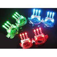 光る LED ハッピー バースデー メガネ 3色セット 赤 ?青?緑 0083
