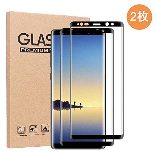 RINAKA【2枚入り】Samsung Galaxy Note 8フィルム ギャラクシーNote8エッジ保護フィルム 6.3インチ【硬度9H 超薄0.26mm 3Dラウンドエッジ加工 気泡抜き 全面保護 貼りやすい 気泡ゼロ 99.9%透過率 指紋防止 撥油性 ケースに干渉せず】(Galaxy Note 8, ブラック)