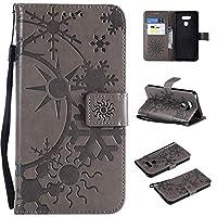 MGVV LG G6 ケース, Flip PU Leather [Flower Embossing] 耐衝撃 高品質 合皮レザー 超薄型 カード収納 ワイヤレス充電対応 マグネット スタンド 機能 人気 手帳型ケース for LG G6 Grey