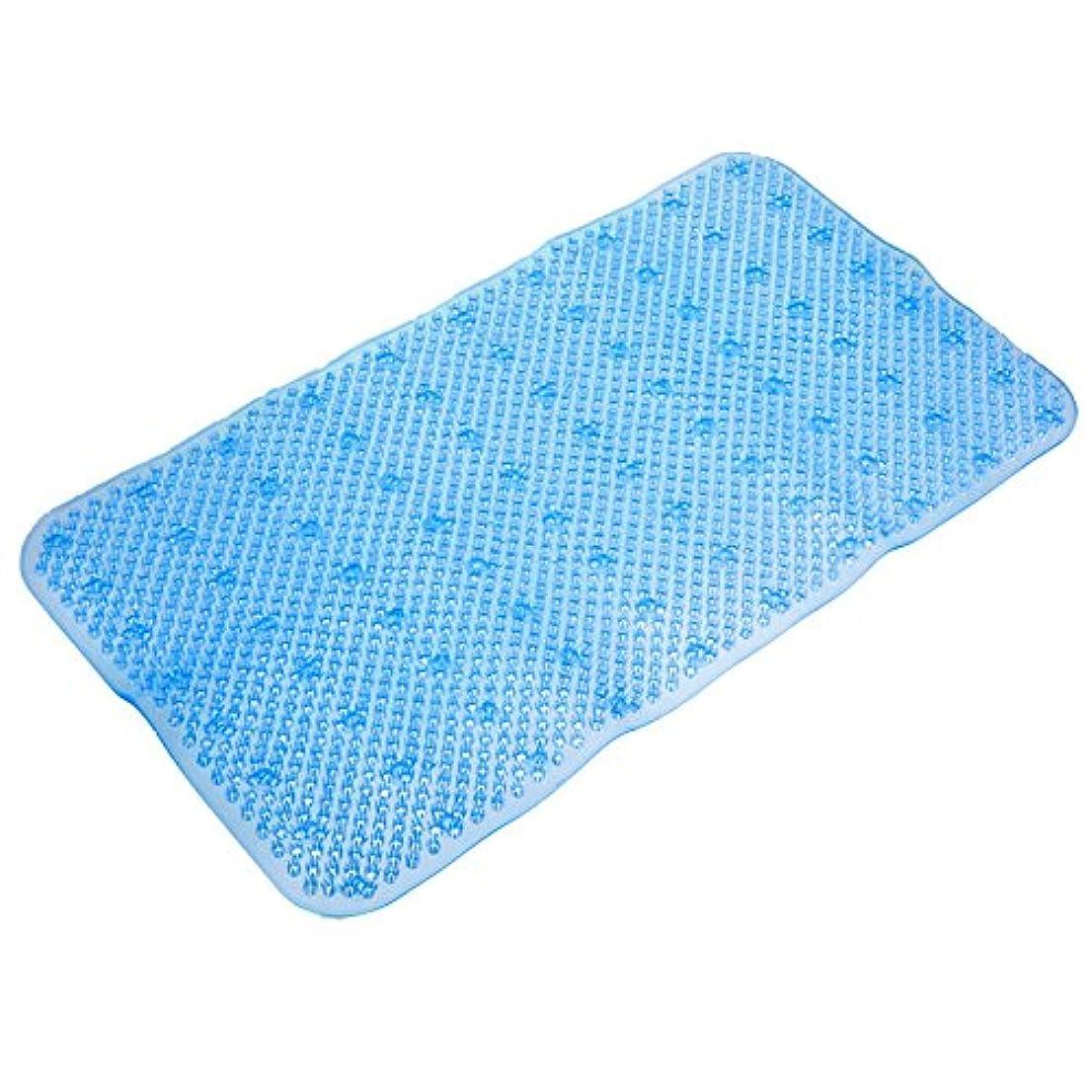 便利な pvc 34 × 64 センチ非スリップ風呂浴室シャワー トイレ アンチスリップフロアマット吸引吸盤パッド足マッサージ の敷物5色-青い