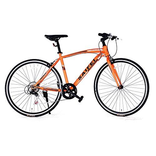 クロスバイク 700*23C HT-02自転車7段変速 初心者 街乗り フラットハンドル 男女兼用 通勤通学 軽量 (オレンジ)