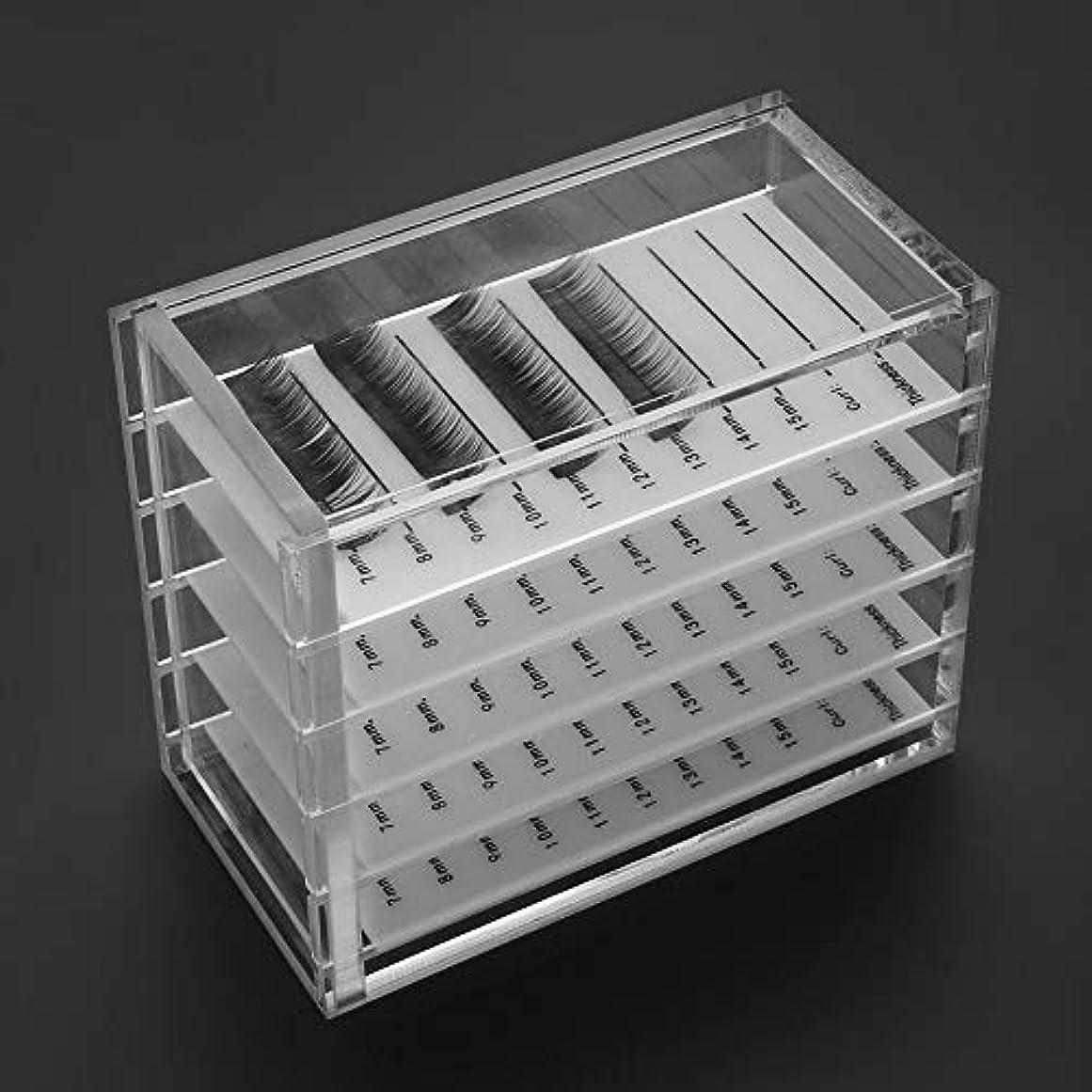 ぴったりハードリングシングルまつげ収納 5層 アクリルケース コスメボックス ジュエリー まつげパレット 小物収納ボックス透明 卓上化粧ボックス アクリル収納