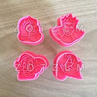 ビスケットカッターセット – 4個セット スノーホワイトとドワーフ型 プラスチッククッキーカッター フォンダンケーキ ビスケット型 アニメ おとぎ話 ベーキングツール slp110