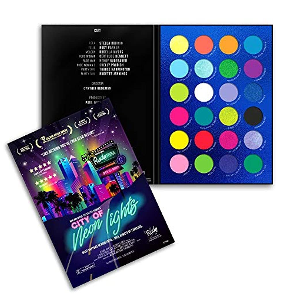 プラス捕虜脚RUDE City of Neon Lights - 24 Vibrant Pigment & Eyeshadow Palette (並行輸入品)
