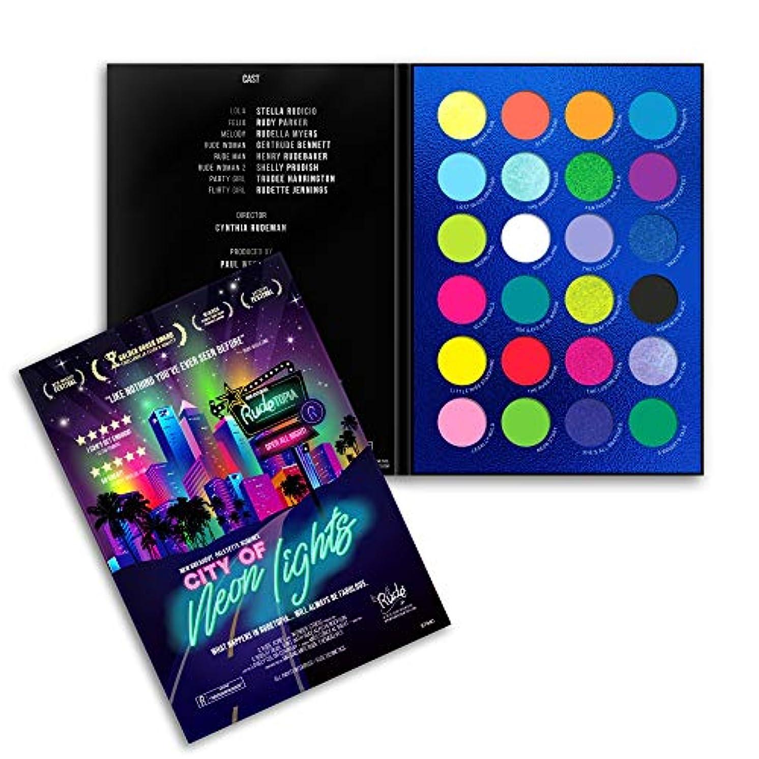 つま先乞食語RUDE City of Neon Lights - 24 Vibrant Pigment & Eyeshadow Palette (並行輸入品)