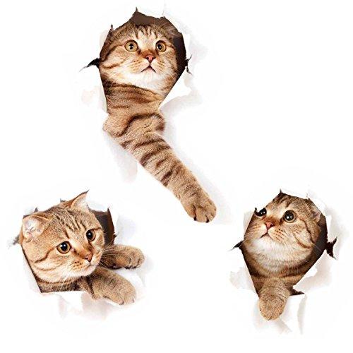 ZRSE(ザスイ)【3匹の猫セット】ウォールステッカー シール式 装飾 おし...