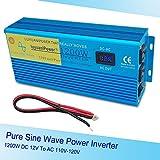 IpowerBingo純正弦波 インバーター1200W 瞬間最大2400W 12V 100V-110V DC→AC 変換器 60Hz 非常用電源