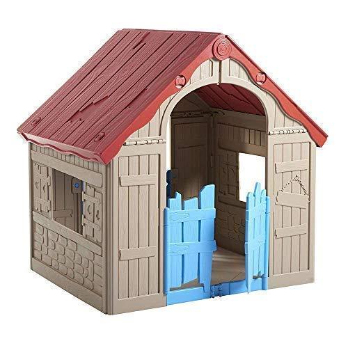 KETER ケター 折りたたみ式プレイハウス(キッズハウス 秘密基地  組立て簡単 収納ケース付 屋内・屋外用 おもちゃ 誕生日 プレゼント)