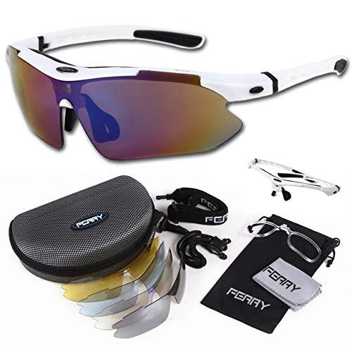 (フェリー) FERRY スポーツサングラス ミラーレンズ フルセット専用交換レンズ5枚 ユニセックス ホワイト