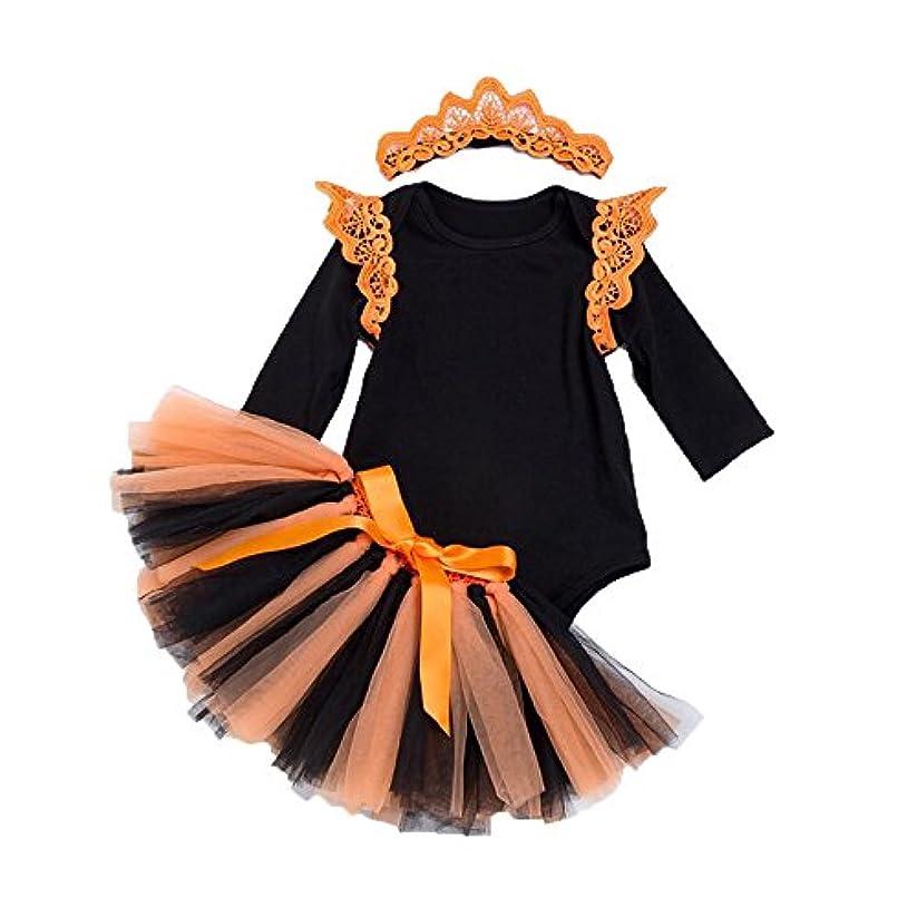 ソブリケット注目すべき印象的なハロウィン装束 コスチューム 仮装 ロンパース ベビー服 キッズ 記念写真 撮影衣装 カバーオール 3点セット 可愛い 女の子 ブラック80cm