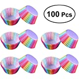 100PCS/SET Rainbow Style Paper Cake Forms Cupcake Liner Baking Muffin Box Cup Case Party Cake Decoration Cupcake Paper