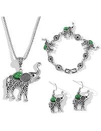 TOOGOO Fashion Jewelry Set Retro Animal Elephant Suit Crystal Necklace Earrings Bracelet Wedding Party Jewelry Sets Statement Jewelry Silver+Green