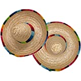 ISusser 2Pc colourful straw hat, hat flanging, Home Furnishing decoration - Mini Sombrero Top Hat Headband Fiesta Party Supplies