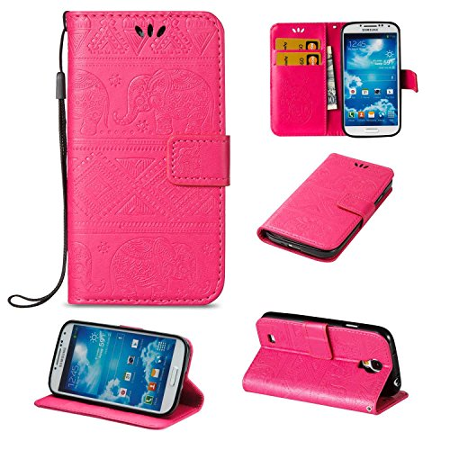 CUSKING Galaxy S4 ケース 手帳型ケース PUレザー フリップ カバー 無地 おしゃれ 全面保護 耐衝撃 ギャラクシ S4 保護ケース ストラップ付き カード収納 スタンド機能 - ピンク