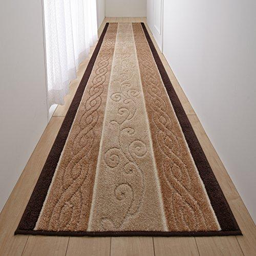 【日本製】 廊下敷き カーペット トルコ製生地使用 ふかふか ベージュ 65×240cm 廊下 マット ロング 滑り止め加工