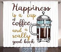 VamJump コーヒー遮光カーテン垂帘 窗帘 昼夜目隠し 遮像 デコレーション 取り付け簡単、フレンチプレス、ホットアロマドリンク、手書きのスタイル、心に強く訴える引用、リビングルームのベッドルームウィンドウドレープ、多色 2枚組 幅135cm丈160cm