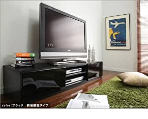 マストバイ テレビ台 ロビン 幅150cm・ブラック・前板鏡面タイプ・背面収納付 M0600002bk